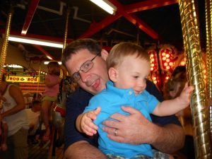 Daddy and Tyler on the Carousel