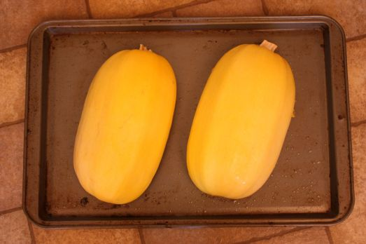 Put your spaghetti squash on a baking sheet