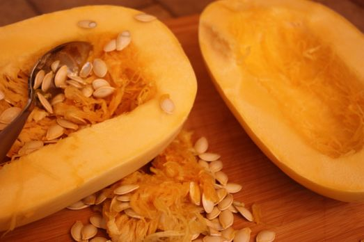 Scrape seeds out of your spaghetti squash