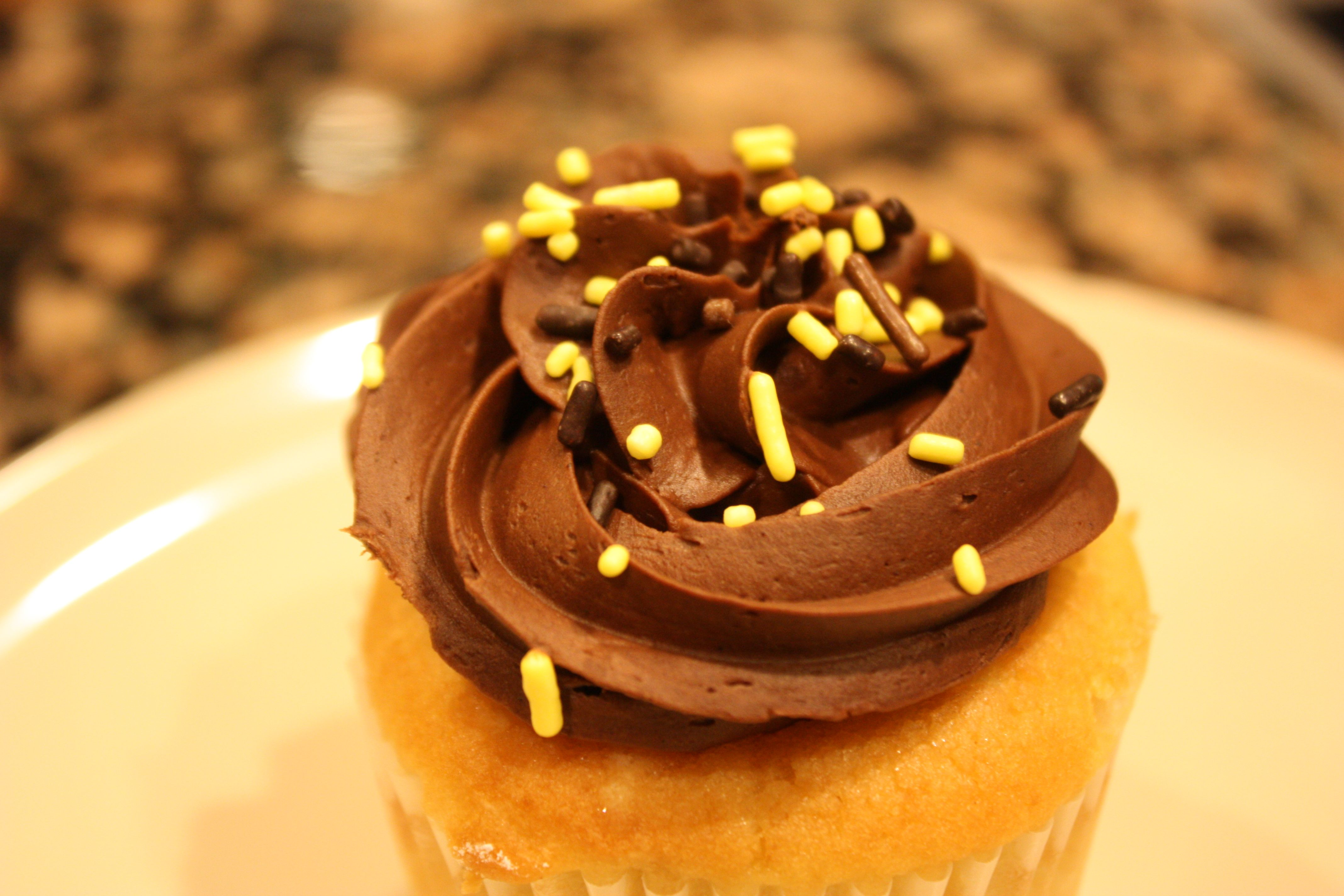 Cake Break Yellow Cupcake with Chocolate Frosting