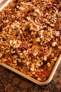 Granola on pan