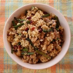Asparagus and Mushroom Millet Pilaf from top